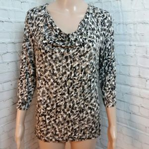 Dana Buchman Draped Neck Speckled Blouse Top